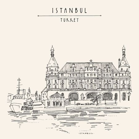 Istanbul, Turkey. Haydarpasa train station and dock. Hand drawn tourist attraction, beautiful old architecture. Travel sketch of a nice building. Vintage touristic postcard or poster. Eps10 vector
