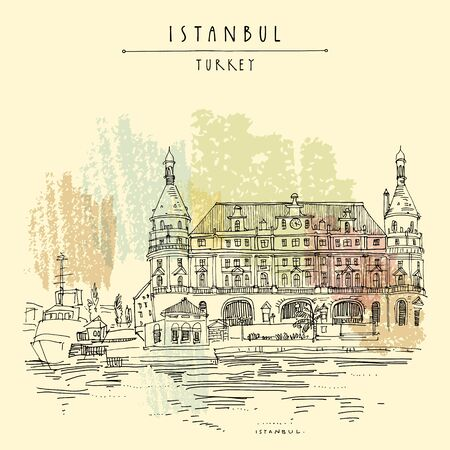 Istanbul, Turkey. Haydarpasa train station and dock. Hand drawn tourist attraction, beautiful old architecture. Travel sketch of a nice building. Vintage touristic postcard or poster.