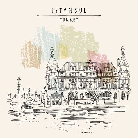Istanbul, Turkey. Haydarpasa train station and dock. Hand drawn tourist attraction, beautiful old architecture. Travel sketch of a nice building. Vintage touristic postcard or poster. vector