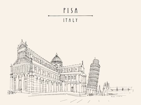 Leaning Tower of  Pisa and Pisa Cathedral on Piazza dei Miracoli. Pisa, Tuscany, Italy, Europe. Vintage travel sketch. Retro style touristic postcard, poster template or book illustration in vector