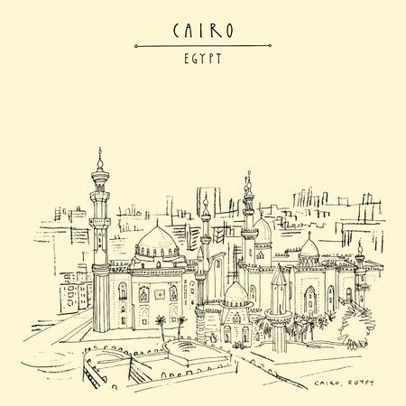 Cairo, Egypt, North Africa. Mosque of Al Rifai and Madrassa of Sultan Hassan near the Saladin Citadel (Cairo Citadel). Travel sketched poster, postcard. Artistic hand drawing. Vector illustration Çizim