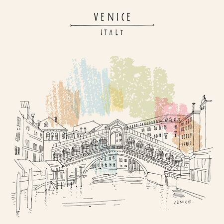Venice, Italy, Europe. Famous Rialto bridge across Grand canal. Travel sketch. Artistic hand drawing. Vector hand drawn postcard, poster, artistic book, calendar or travel booklet Stock Illustratie
