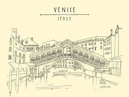 Venice, Italy, Europe. Famous Rialto bridge across Grand canal. Travel sketch. Artistic hand drawing. Vector hand drawn postcard, poster, artistic book, calendar or travel booklet