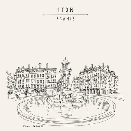 Brunnen in Lyon, Frankreich, Europa. Europäische Stadtillustration. Handzeichnung im Retro-Stil. Reiseskizze. Vintage handgezeichnete touristische Postkarte, Poster oder Buchillustration