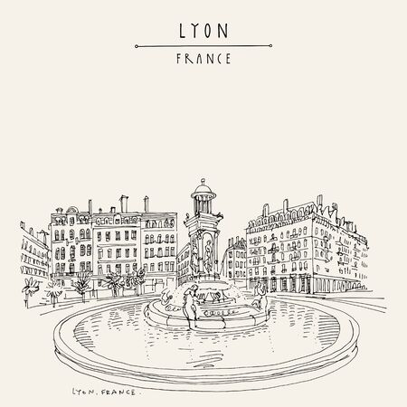 Fountain in Lyon, France, Europe.  European city illustration. Hand drawing in retro style. Travel sketch. Vintage hand drawn touristic postcard, poster or book illustration Stock Illustratie
