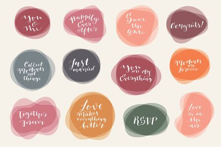 Vector calligraphic hand lettered set of Wedding and Valentines day phrases, quotes and wishes on liquid form transparent backgrounds. Trendy romantic holiday illustration