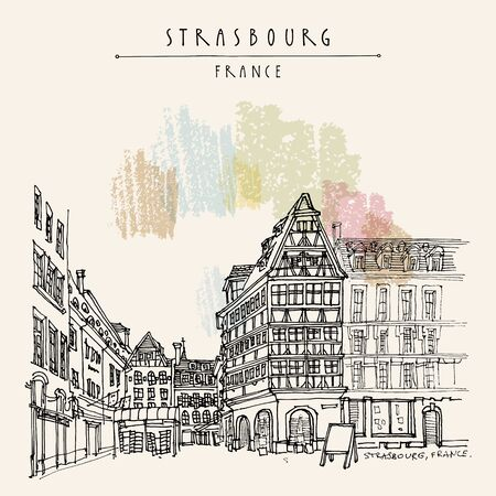 Strasbourg, France, Europe. Street and square in old town, old houses. Cozy European town. Hand drawing. Travel sketch. Vintage hand drawn touristic postcard