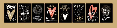Hand drawn Valentines Day cards. For You, I Love You to The Moon and Back, You Are Awesome, You Are My Sunshine, With Love. Vintage artistic greeting cards with hearts. Modern calligraphy, lettering Stock Illustratie