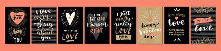 Set of Valentines Day Love hand lettered modern calligraphy cards. Vector typography vintage illustration