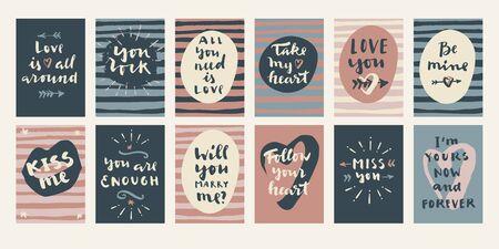 Hand drawn Valentine's Day cards. Modern calligraphy, hand lettering Ilustração