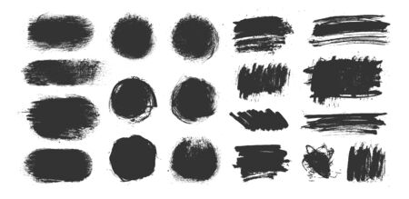 Vector grunge elements. Set of grungy hand drawn scribbles, circles, brush strokes and highlight backgrounds isolated on white. Universal creative contemporary design elements illustration Stock Illustratie