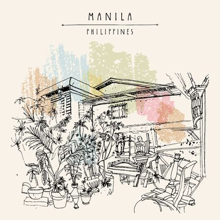 An aged guesthouse with a vintage art shop in the old part of Manila, Philippines, Asia. Hand drawn vintage postcard or poster template in vector Stock Illustratie