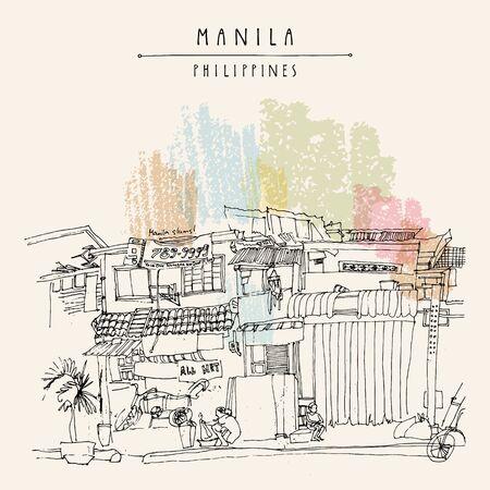 Bidonvilles dans la partie ancienne de Manille, Philippines, Asie. Modèle de carte postale ou d'affiche vintage dessiné à la main en vecteur Vecteurs