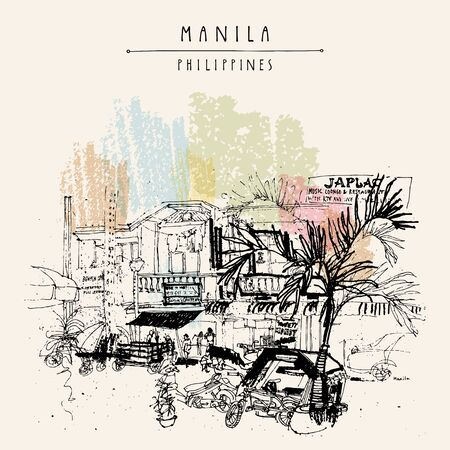 A street in the old part of Manila, Philippines, Asia. Hand drawn vintage postcard or poster template in vector