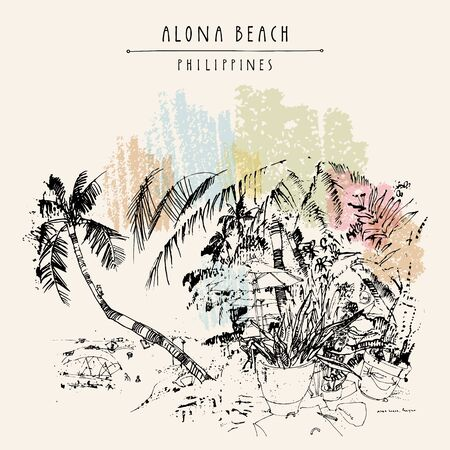 Alona beach, Panglao island, The Philippines, Asia. Hand drawn vintage postcard or poster template in vector