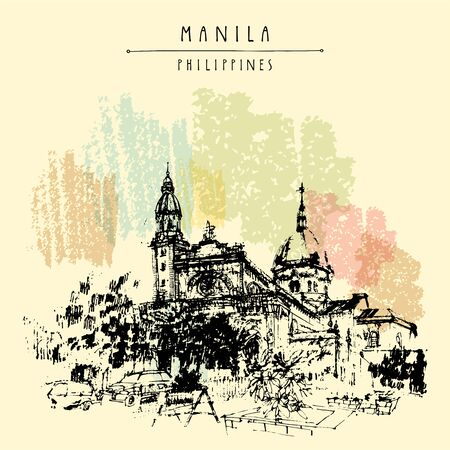The Manila Cathedral. Intramuros, Manila, The Philippines, Asia. Hand drawn vintage postcard or poster template in vector
