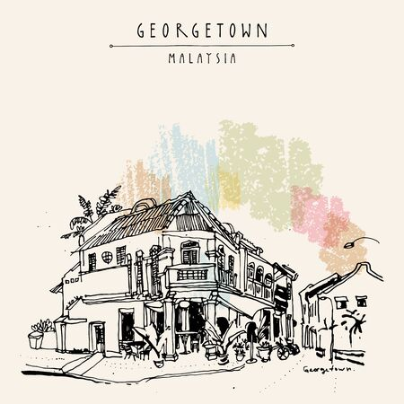 Georgetown, Penang, Malaysia, Southeast Asia. Cozy eclectic colonial building. Corner restaurant in old historical street . Hand drawing. Travel sketch. Book illustration, postcard or poster
