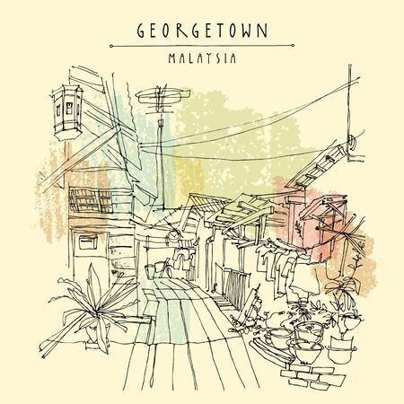 Georgetown, Malaysia, Southeast Asia. Traditional wooden houses on water, plants, electric wires. Artistic drawing, travel sketch illustration. Touristic postcard, poster Stock Illustratie