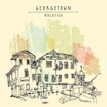 Cozy colonial building and a mosque in old historical part of Georgetown, Penang, Malaysia, Southeast Asia. Eclectic style hand drawing. Travel sketch. Book illustration, postcard or poster