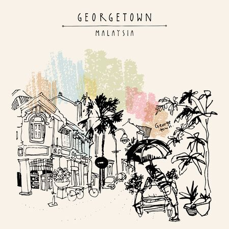 Little India district in Georgetown, Penang, Malaysia, Southeast Asia. Bicycle rickshaw with umbrella, historic buildings. Hand drawing. Travel sketch. Book illustration, postcard or poster