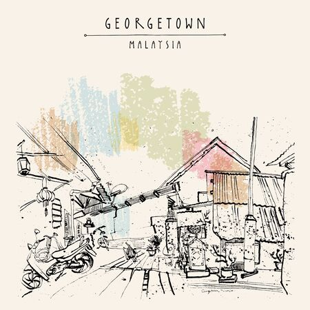 Georgetown, Penang, Malaysia, Southeast Asia. Narrow street, traditional houses, plants. Vintage travel sketch postcard, poster template. Artistic illustration