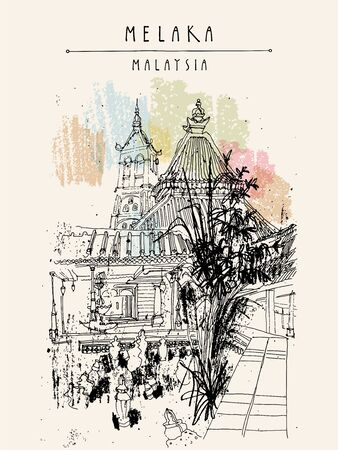 A mosque in Melaka, Malaysia, Southeast Asia. Vertical vintage travel sketch postcard, poster template. Artistic location drawing illustration