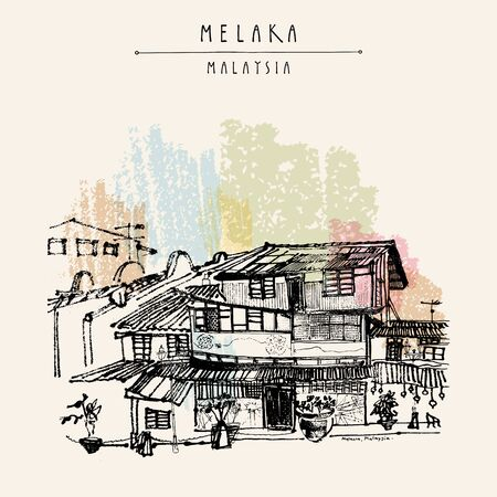 Old historical houses on the river in Melaka, Malaysia. Travel sketch. Vintage touristic hand drawn postcard, poster, book illustration in vector