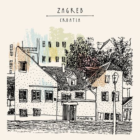 Zagreb, Croatia, Europe. Street in old town, cozy place. Former Jugoslavia travel sketch drawing. Vintage hand drawn Zagreb postcard, poster, Croatia travel book illustration