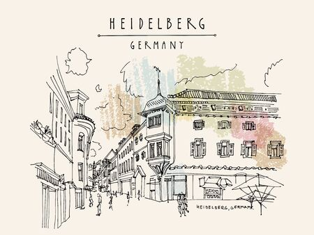 Old town inHeidelberg, Germany, Europe. Town square with side walk cafes. Travel sketch of vintage street and baroque buildings. Vintage hand drawn postcard. EPS 10 vector illustration