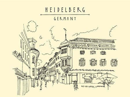 Old town inHeidelberg, Germany, Europe. Town square with side walk cafes. Travel sketch of vintage street and baroque buildings. Vintage hand drawn postcard.