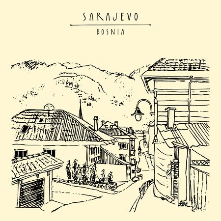 Sarajevo, Bosnia, Balkans, South Europe. Former Yugoslavia. Street in old town with mosque. Hand drawing. Travel sketch. Vintage touristic postcard, poster, brochure or book illustration Ilustracja