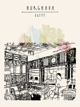 Hurghada, Egypt, North Africa. People smoking hookah in a cafe. Travel sketch. Vertical vintage style touristic poster, postcard. Artistic hand drawing illustration Ilustracja