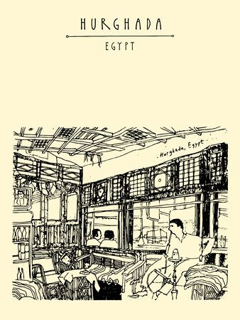 Hurghada, Egypt, North Africa. People smoking hookah in a cafe. Travel sketch. Vertical vintage style touristic poster, postcard. Artistic hand drawing illustration Vettoriali
