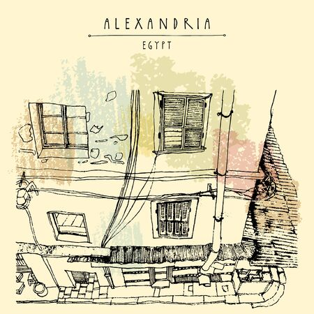 Alexandria, Egypt, North Africa. Old house facade, British colonial architecture. Hand drawn vintage book illustration, postcard or poster template