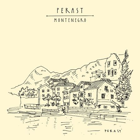 Perast waterfront, Montenegro, Balkans. Houses, water, mountains. Line art travel sketch. Hand drawn artistic postcard, poster template illustration background Illusztráció