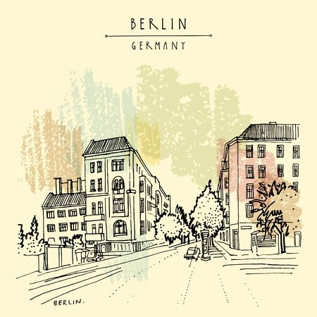 Berlin, Germany, Europe. Freehand drawing of Prenzlauerberg district. Travel sketch. Vintage hand drawn touristic postcard, poster, travel book illustration Ilustracja