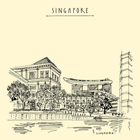 Uferpromenade von Singapur. Blick auf die Stadt vom Wasser. Handzeichnung. Reiseskizze. Vintage touristische Postkarte, Poster. Künstlerische Illustration Vektorgrafik