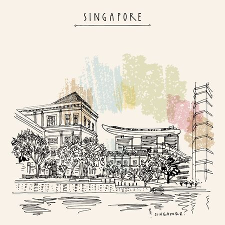 Singapore waterfront. City view from water. Hand drawing. Travel sketch. Vintage touristic postcard, poster. Artistic illustration