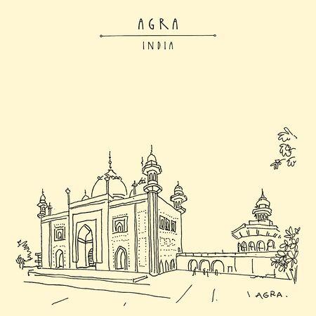 Agra, India. Mosque at Taj Mahal complex. Old historical architecture. Taj Mahal Mausoleum is a famous historical landmark. Hand drawn travel postcard
