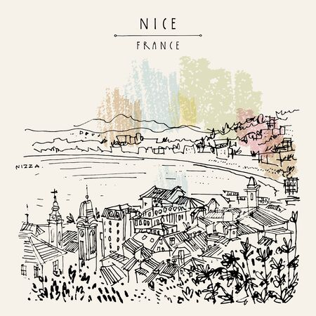 Nizza (Nice), France, Europe. Cozy European town on French Riviera, waterfront. Mediterranean sea. Hand drawing. Travel sketch. Vintage touristic postcard, poster or book illustration.