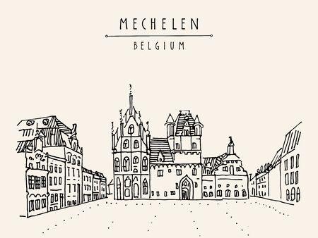 Mechelen, Belgium, Europe. Town hall  on Grote Markt. Hand drawn travel postcard. Travel sketch. Hand drawing of Mechelen. Vintage hand drawn Belgium postcard