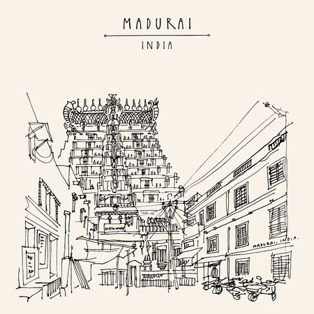 Madurai, Tamil Nadu, South India. Meenakshi temple, North tower (gopuram). Hindu temple, sacred place. Artistic hand drawing. Asian travel sketch. Vintage hand drawn postcard, poster