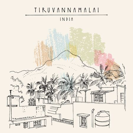 Tiruvannamalai, Tamil Nadu, South India. Arunachala sacred mountain, palm trees and houses. Artistic hand drawing. Asian travel sketch. Vintage hand drawn postcard, poster