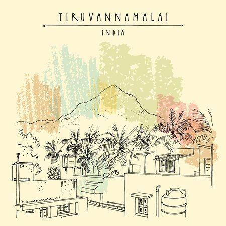 Tiruvannamalai (Tiru), Tamil Nadu, South India. Arunachala sacred mountain, palm trees and houses. Artistic hand drawing. Asian travel sketch. Vintage hand drawn postcard, poster. EPS10 vector