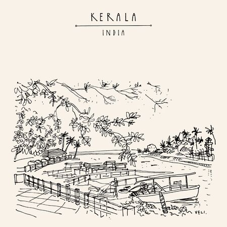 Veli lake, Kerala, South India. Boats on water, palm trees and resorts. Tropical paradise vacation background. Artistic hand drawing. Asian travel sketch. Vintage hand drawn postcard, poster Иллюстрация