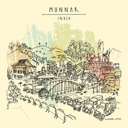 Munnar, Kerala, South India. Panoramic view of the town center. Houses, cars, church and bridge. Artistic hand drawing. Asian travel sketch. Vintage hand drawn postcard, poster