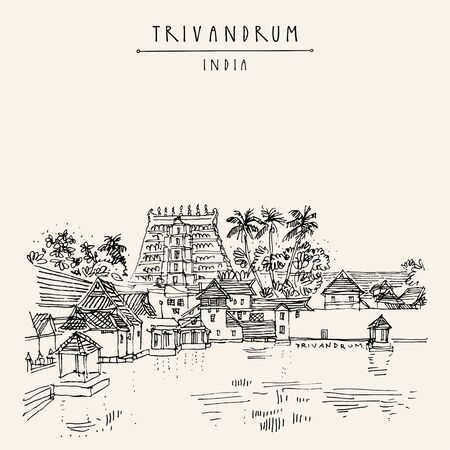 Trivandrum (Thiruvanathapuram), Kerala, South India. Sree Padmanabhaswamy Temple. Artistic hand drawing. Asian travel sketch. Vintage hand drawn postcard, poster Ilustracja