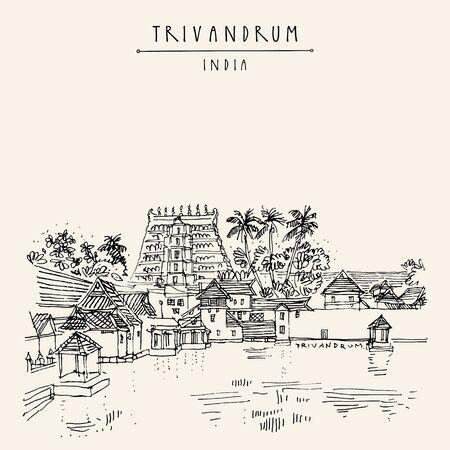 Trivandrum (Thiruvanathapuram), Kerala, sur de la India. Templo de Sree Padmanabhaswamy. Dibujo artístico a mano. Bosquejo de viajes asiáticos. Postal vintage dibujada a mano, cartel