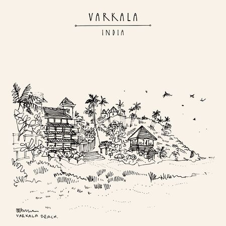 Varkala beach, Kerala, South India. Hill, sand, palm trees and resorts. Tropical paradise vacation background. Artistic hand drawing. Asian travel sketch. Vintage hand drawn postcard, poster Ilustracja