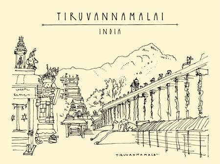 Tiruvannamalai (Tiru), Tamil Nadu, South India. Arulmigu Arunachaleswarar Temple (The Annamalaiyar Shiva Temple), Annamalaiyar hill. Artistic drawing. Travel sketch. Vintage hand drawn postcard Ilustracja